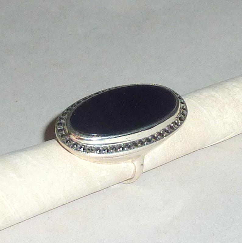 "Vintage Black Jet / Onyx in Sterling Marcasite 1 1/2"" long Oval Ring sz 7"