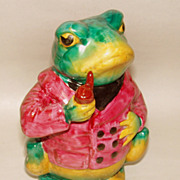 "Whimsical Vintage Glazed Pottery Pipe Smoking BULL FROG 6 3/4"" Figurine"