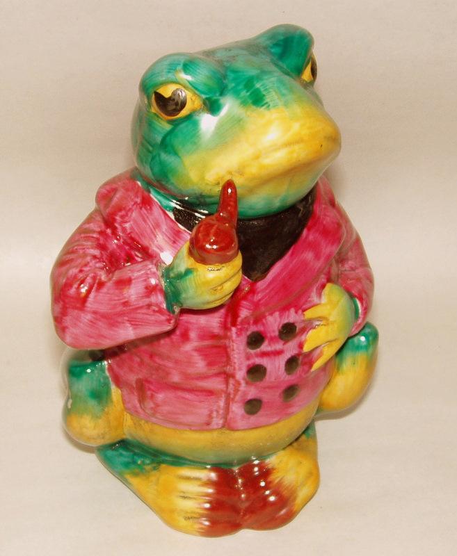 "Whimsical Vintage Glazed Pottery Pipe Smoking BULL FROG 6 3/4"" Figurine"