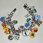 20 Vintage Enamel Silver Travel Shield Charms Overload Sterling Bracelet