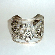 Vintage 1930's L. Maciel Mexico Repousse Cut Out Sterling Bangle 32 grams