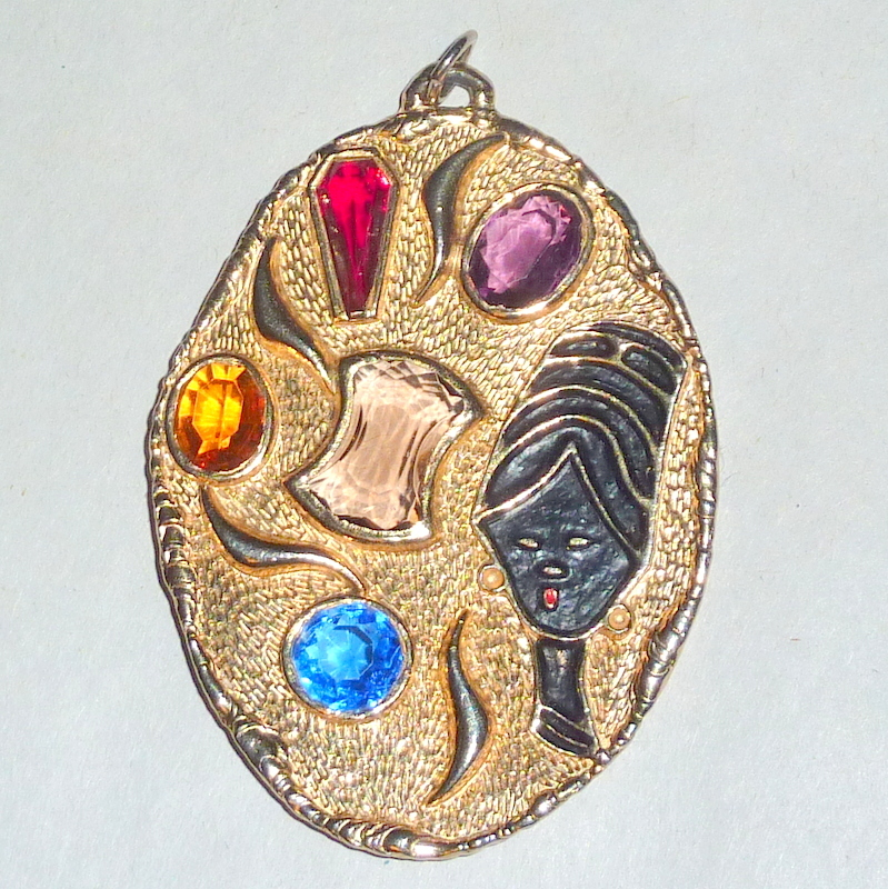 "Vintage 1950's Modernist Glass Jewels & Blackamore Queen 3"" Necklace Pendant"