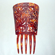 "Hand Carved 7 1/2"" Vintage Peineta Mantilla Hair Comb Faux Tortoise Celluloid"