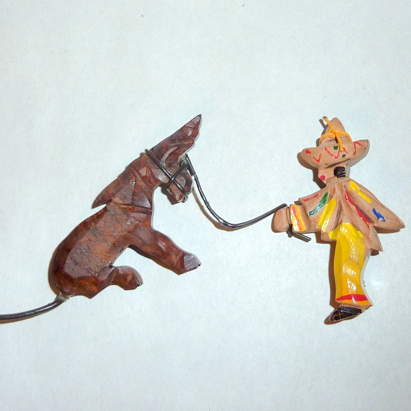 Vintage 1940's Mexico Hand Carved Wood Man & Stubborn Donkey Brooch