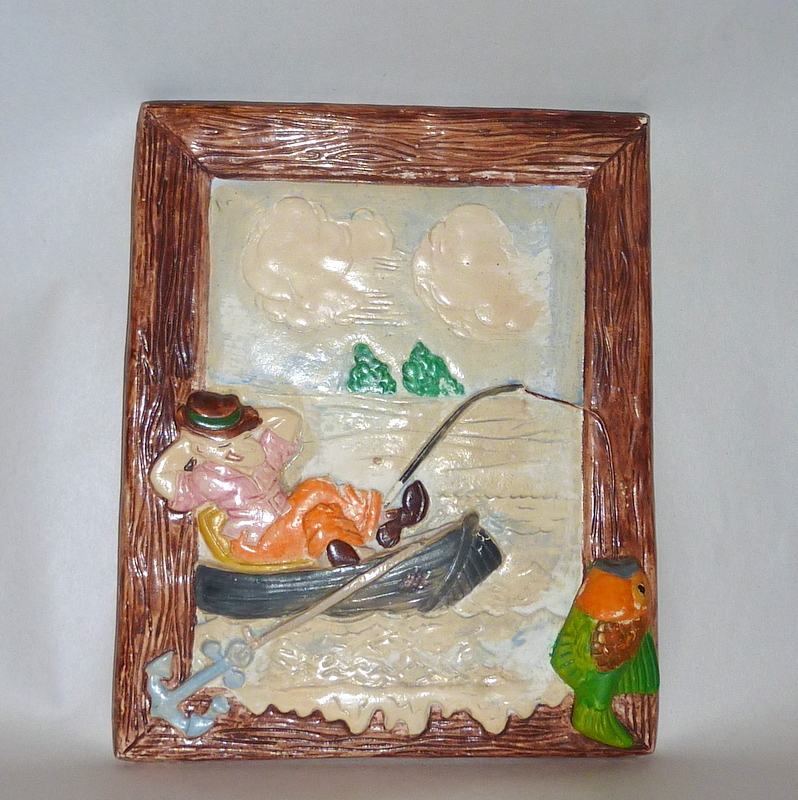 Vintage 1930's Plaster - Chalkware Cartoon Picture Sleeping Fisherman in Boat