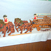 Rare 1920's Germany Lowenbrau Wood Wagon 4 Horses Drivers Kegs 5' Beer Display