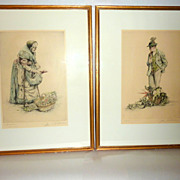 Framed Pair of Vintage Paul Geissler Signed Etchings Old Vegetable Sellers