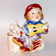 Vintage Japan Ceramic Cache Pot Singing Boy Busking with Scottish Terrier