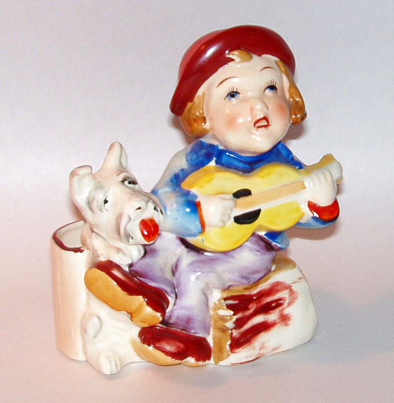 Vintage Japan Ceramic Cache Pot Singing Boy Busking with Scottish Terrier