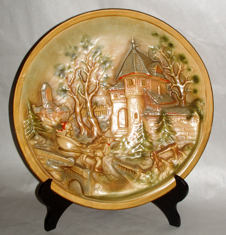 "19th century Antique 14"" German Christmas Tale Pottery Relief Wall Platter"