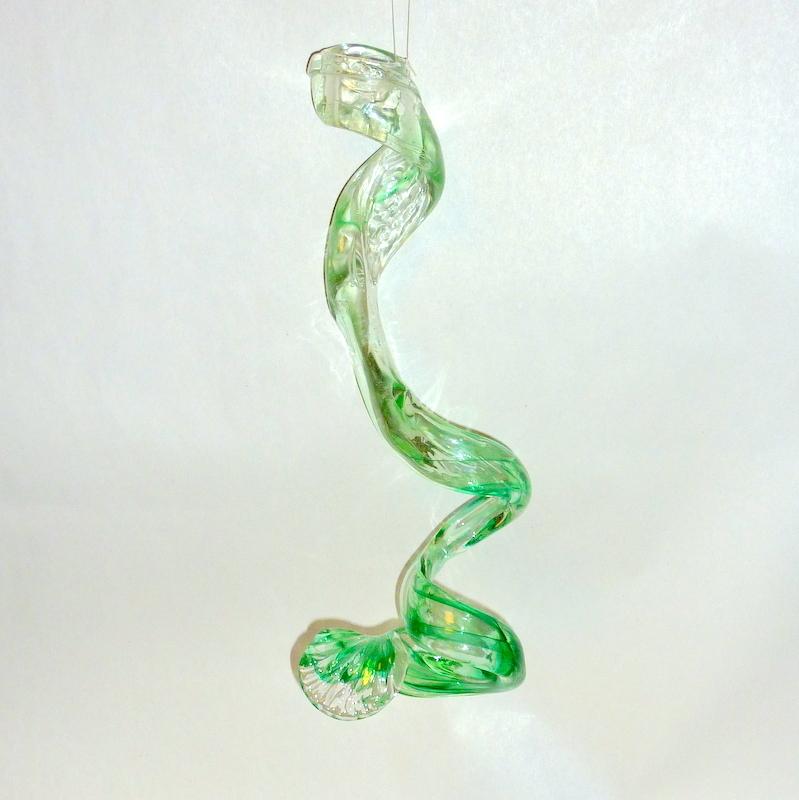 "Vintage OOAK 1970's Studio Art Glass 13"" Hanging Free Hand Modern Sculpture"