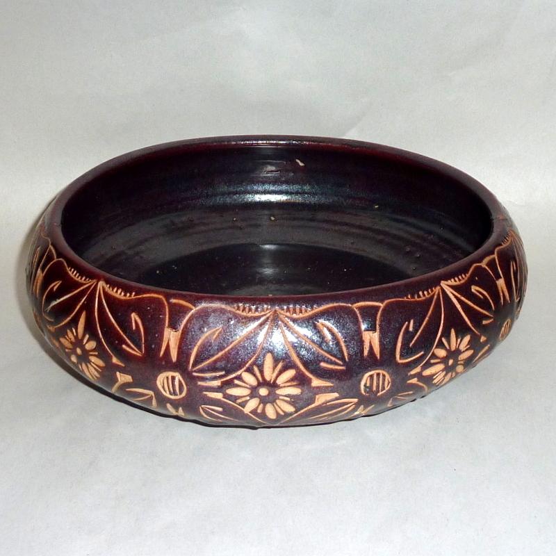 "Vintage 1950's Asian Incised Design Earthenware 10 1/2"" Pottery Bowl"
