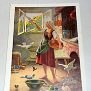 Set of Five Vintage Otto Kubel German Fairy Tale Postcards - Cinderella