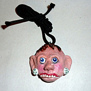 Artisan OOAK Sculptured Polymer Clay Head Necklace Pendant - Mavis