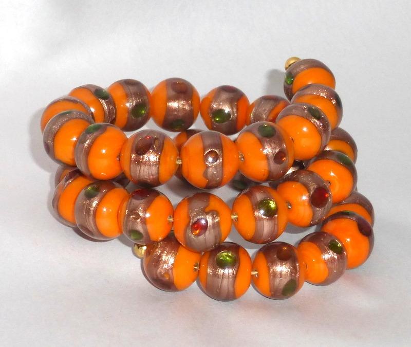 Vintage Wrap Bangle Bracelet Lampwork Glass Orange & Gold 13mm Beads