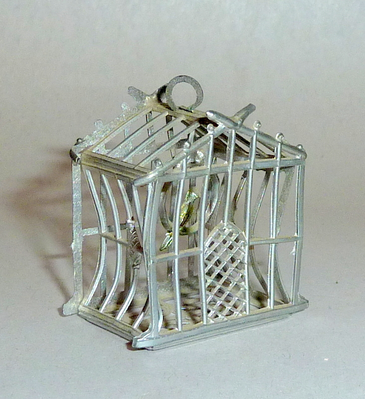 "Antique Soft Metal 1910 Germany Dollhouse 1 1/4"" Miniature Bird in Cage"