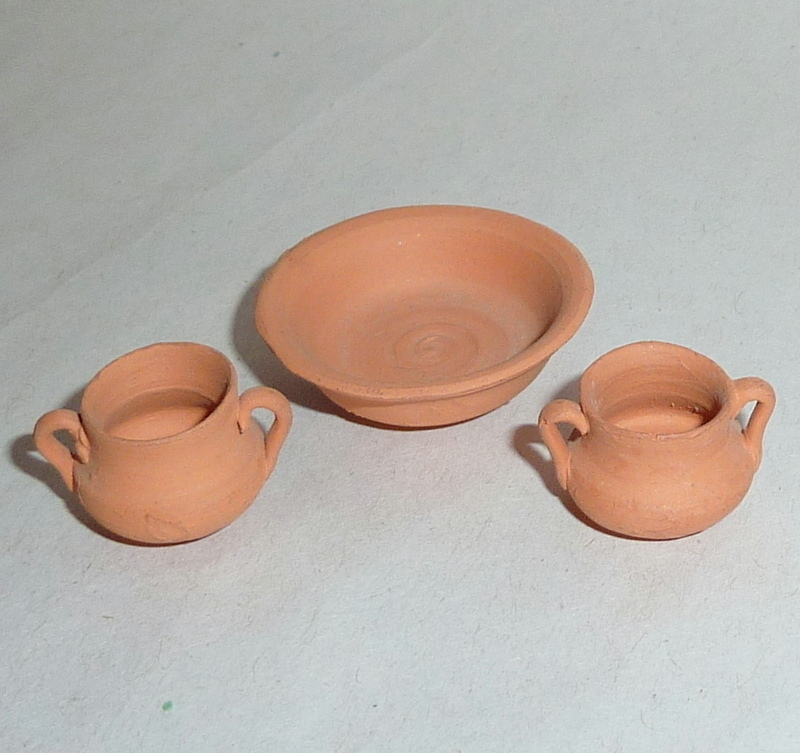 Vintage Hand Made Terracotta Red Clay Dollhouse Miniatures Bowl & Cups