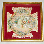 "Framed on Red Velvet Antique Victorian Silver Paper Lace 7"" Valentine ""Keep It"""