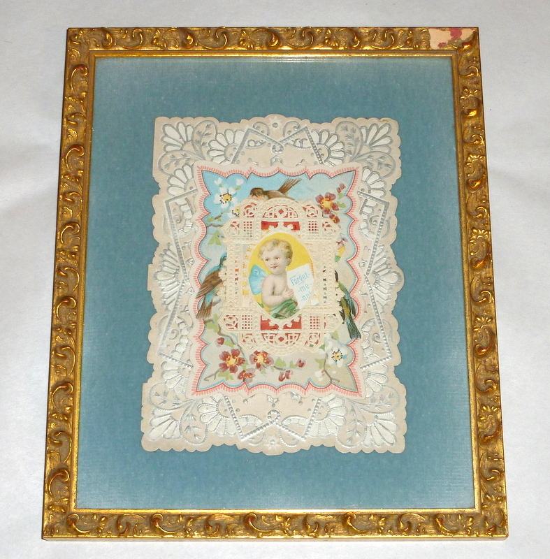 """Framed Blue Velvet Antique Victorian Paper Lace 8"""" Valentine Card Forget Me Not"""