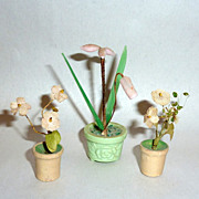 Vintage Germany & Japan Dollhouse Miniatures Glass / Silk Flowers in Pots