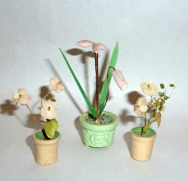 Vintage Germany & Japan Dollhouse Miniatures Glass / Silk Flowers in Pots