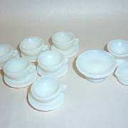 15 pcs. Rare Vintage JAPAN Opalescent Milk Glass Dollhouse Miniature Dish Set