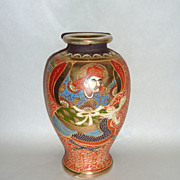 Antique 1900 Satsuma Japan Moriage Porcelain Vase / Urn Warrior Riding Dragon