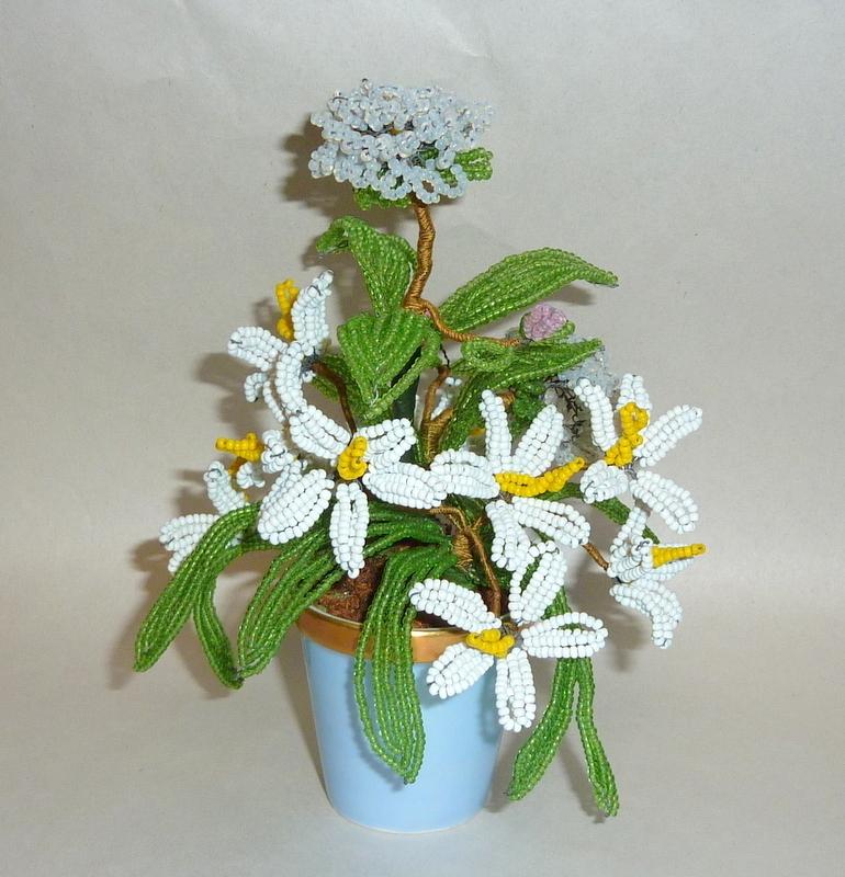 Vintage 1970's Chamart Limoges France Porcelain Pot with Beaded Flowers