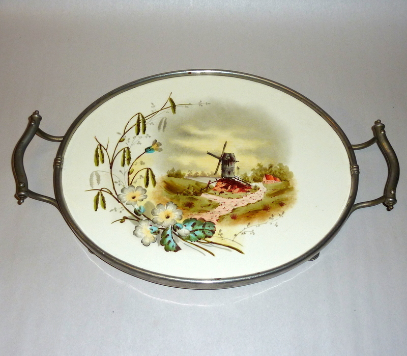"""Antique Holland / Germany Painted Porcelain Tile 16"""" Vanity Tray"""
