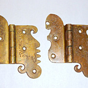 Pair Antique Victorian Era Bronze Ice Box Hinges - Chicago - Paul Dacmicke - A