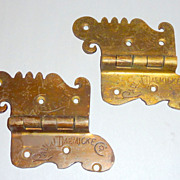 Pair Antique Victorian Era Bronze Ice Box Hinges - Chicago - Paul Dacmicke - B