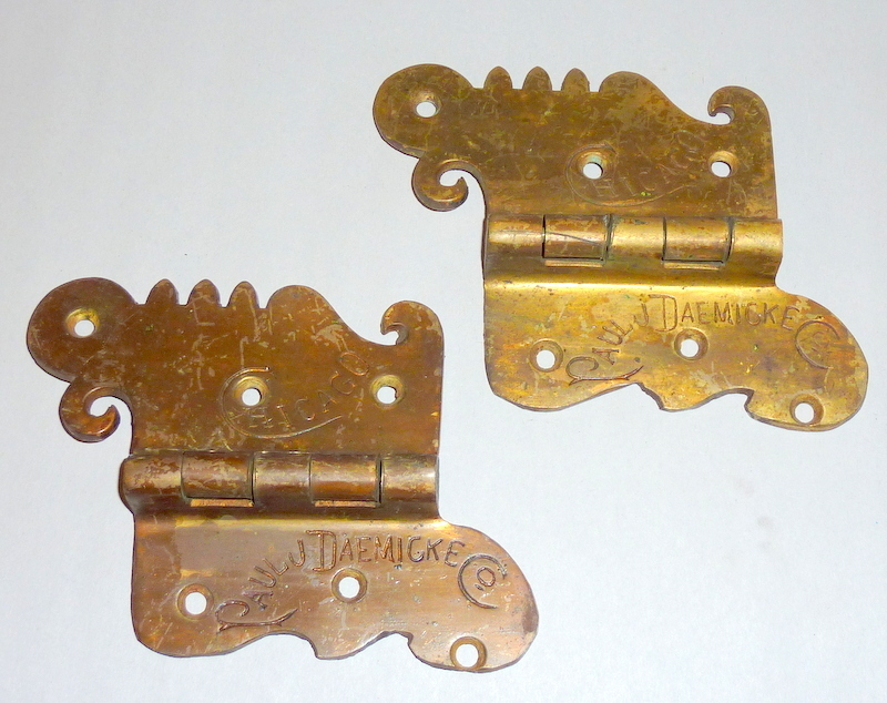Pair Antique Victorian Era Bronze Ice Box Hinges - Chicago - Paul Dacmicke - B