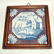 Antique 18th C. Framed Tile Manganese Blue Bristol England Seaside Scene