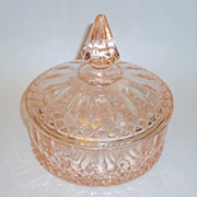"Vintage 1930's Indiana Pink Depression Glass 6"" Covered Candy Dish"