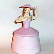 "Vintage 5"" tall Figural Covered Trinket Box Pink Open Arms Lady in Wide Brim Hat"