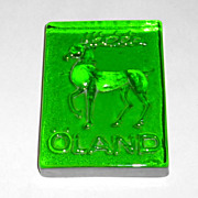 "Vintage Oland Norway 4 3/4"" Green Crystal Reindeer Paperweight"