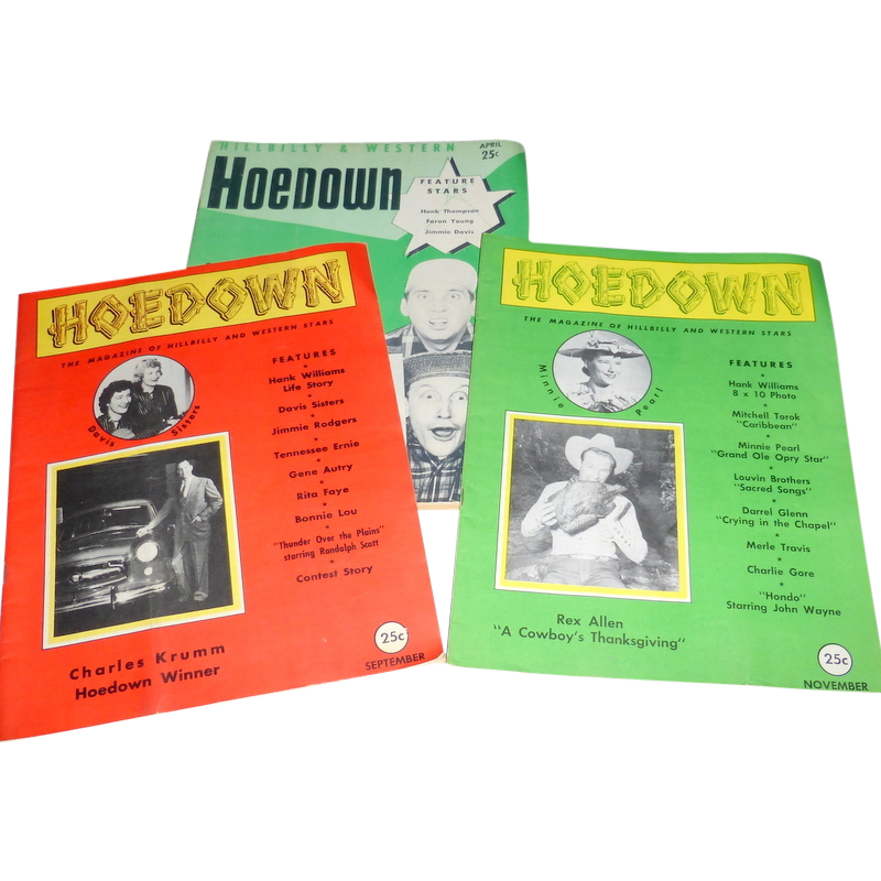 3 Vintage 1950's Hoedown Hillbilly & Country Western Music Stars Magazine