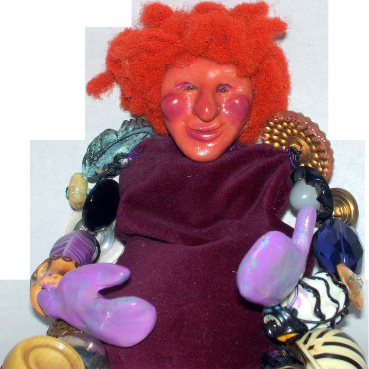 "Vintage OOAK Papier Mache Glass Buttons & Beads 11"" Red Headed Art Doll"