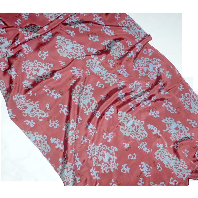"""Vintage 1980's Japanese Pure Silk Fabric Rosy Marrron & Dusky Blue ~ 66"""""""