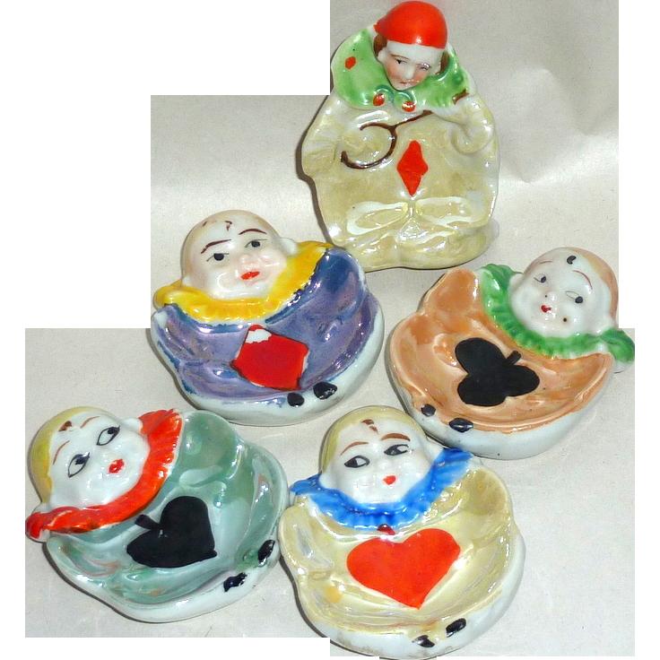 5 Unique Vintage Japan Hand Painted Ceramic Open Salt Clowns ~Bridge Card Suits