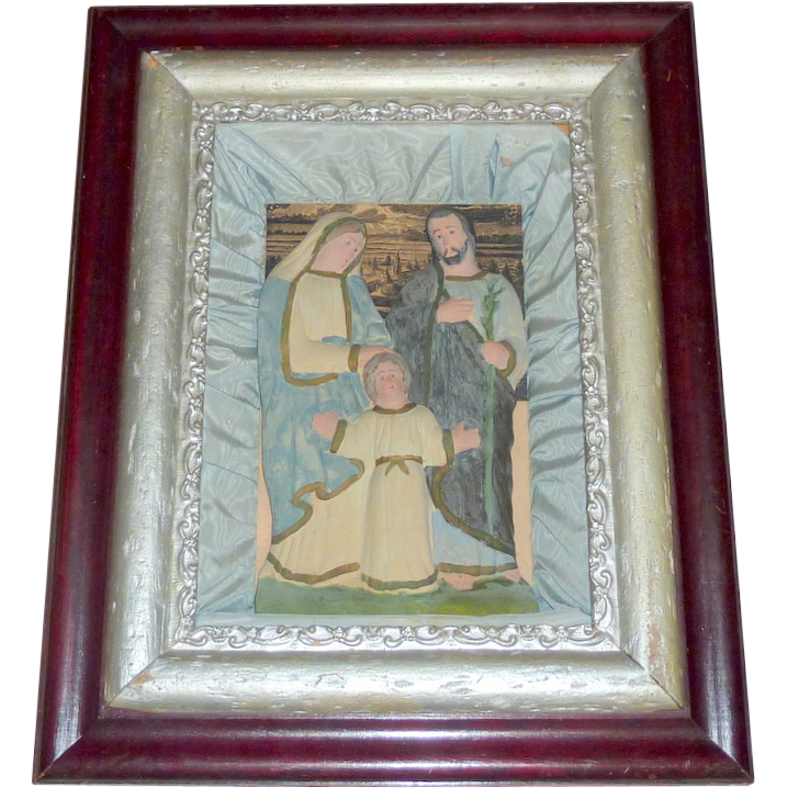 Antique 1880's Catholic Chapel Holy Family Lrg Frame Shadow Box Wall Picture