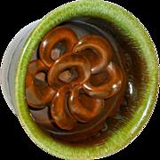 Vintage Green/Brown Glazed Art Pottery Flower Pot / Vase with Flower Frog