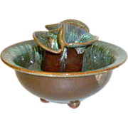 Vintage Blue Green/Brown Glazed Art Pottery Flower Pot / Vase with Flower Frog