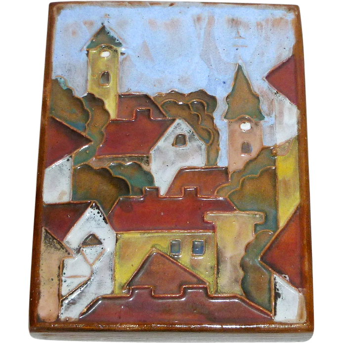 "Marvelous Vintage 5 1/2"" Relief in Clay Art Tile - Small European Town ~ signed"