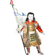 "Antique 19th century Japanese Warrior 8"" Gofun Doll with Banner ~  Domed Glass"