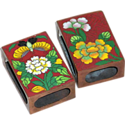 Pair of Vintage 1920's Cloisonne Enamel on Copper Match Box Holders