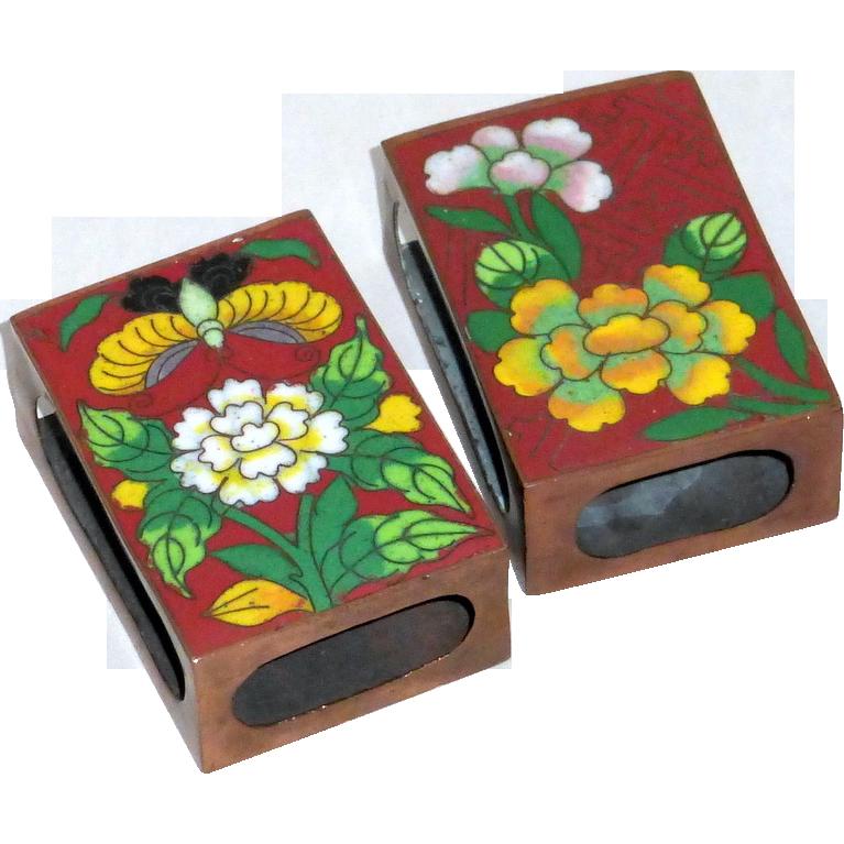 Pair of Vintage 1920's Cloisonne Enamel on Copper Match Box Holders
