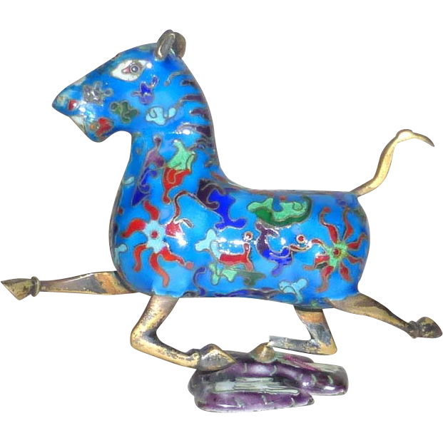 Vintage Chinese Cloisonne Bronze Figurine Running Horse Foot on Swallow