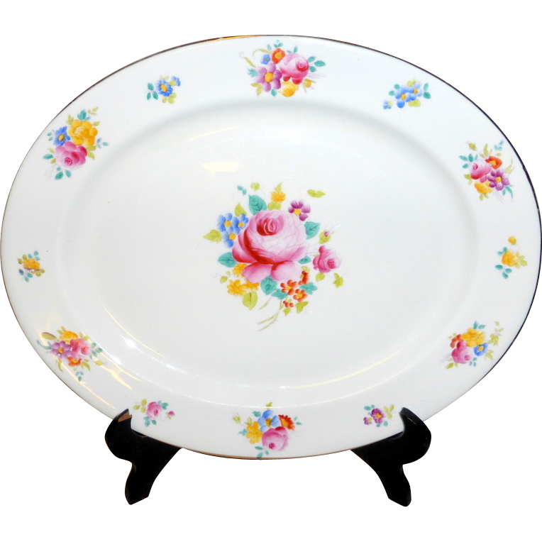 """Antique Hand Painted Flowers Royal Chelsea England 17"""" China Platter"""