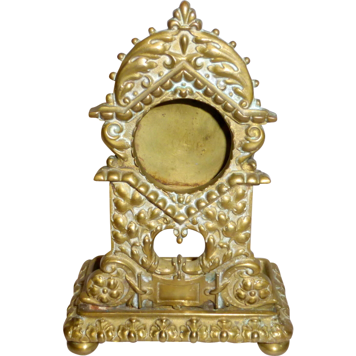 "Antique 1800's Ornate 5 1/2"" Brass Pocket Watch Stand with Ring / Pin Tray"